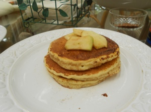 Apple Cinnamon Pancakes.  Maybe if you wish hard enough we'll post the recipe.