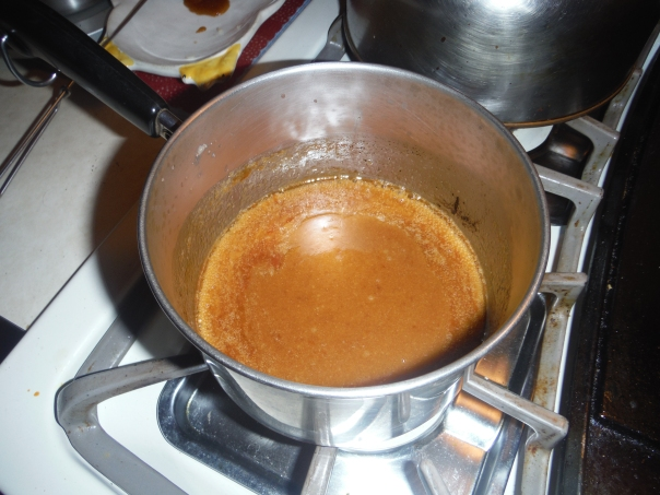 The brown sugar and butter all nice and melty.  Please be careful, this stuff is super hot and burn-y.