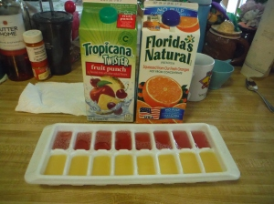 I did half with fruit punch and half with orange juice.