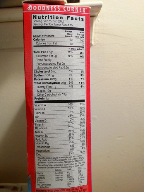 Original French Toast nutrition and ingredients circa 2005