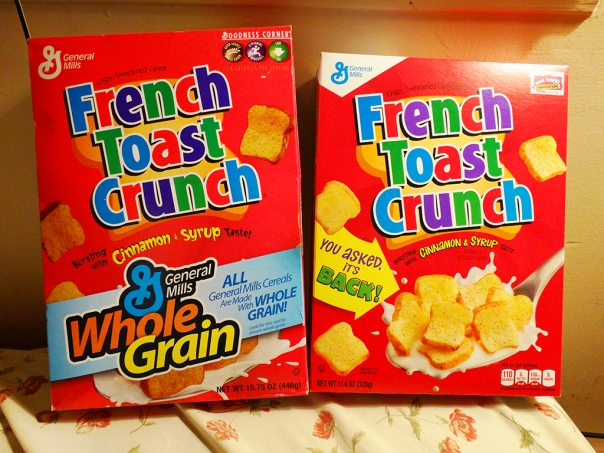 Old box VS new box of French Toast Crunch